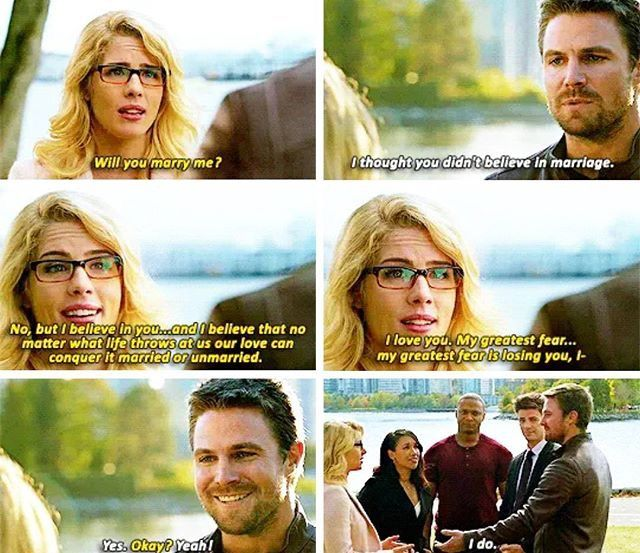 Felicity and Oliver wanting to get married in Crisis on Earth-X