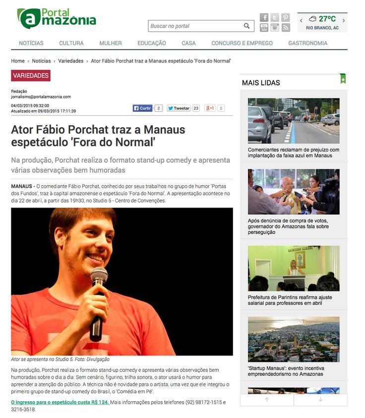 Ator Fábio Porchat traz a Manaus espetáculo 'Fora do Normal'