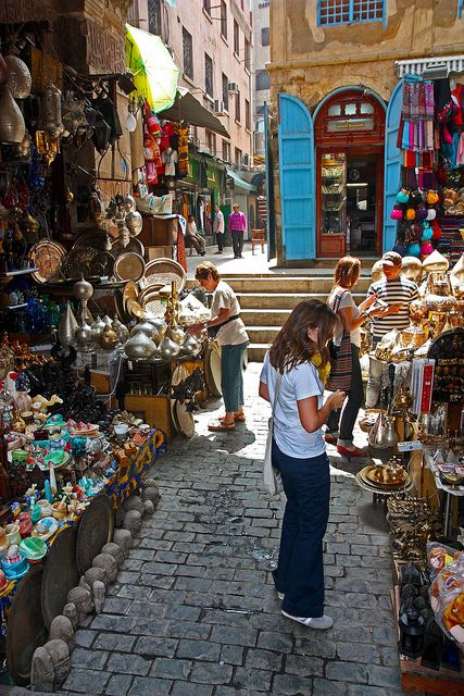 Shopping in the Khan el-Khalili Bazaar, Cairo, Egypt (by carolynpepper).