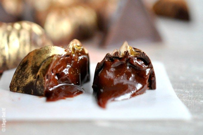 This recipe for Salted Caramel Ganache Dark Chocolate is dark couverture molded and filled with a decadent salted caramel ganache.