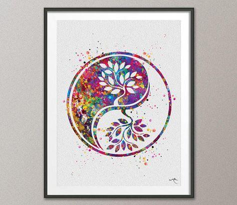dieses angebot auf leinwand mit diesem link erhltlich httpswwwetsycomuklisting560209974 yin yang baum des lebens 2 aquarell kunstdruck wand kunst - Familienwanddekorideen Fr Wohnzimmer