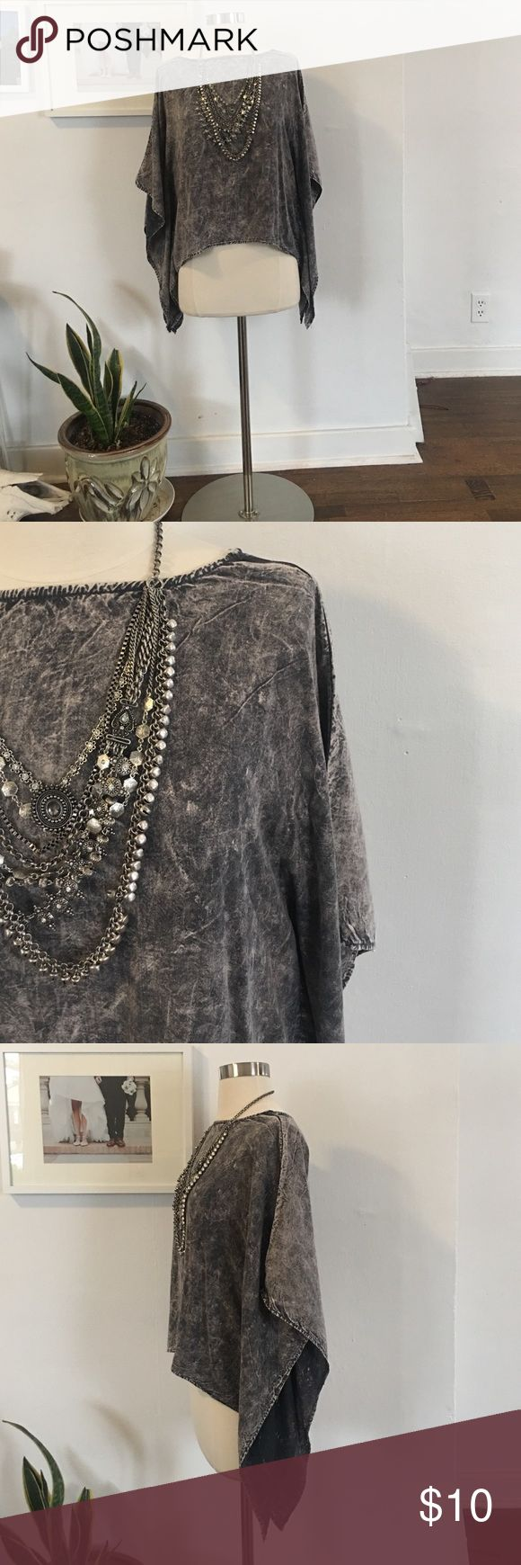 "Dark marble grey batwing sleeve top shirt NWT never worn. Dark grey burnout shirt with batwing draped sleeves. Faux buttoned back, round neck, 100% polyester. 12"" sleeves, 30"" length. Size large. Mustard Cartel Tops Blouses"