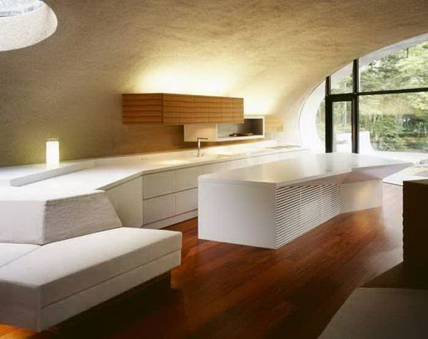 White Theme Japanese Kitchen Design Ideas With Wooden Floor And Candle ~  Http:// Part 84