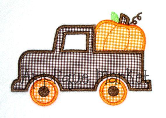 Machine Embroidery Design Applique Truck with Pumpkin INSTANT DOWNLOAD