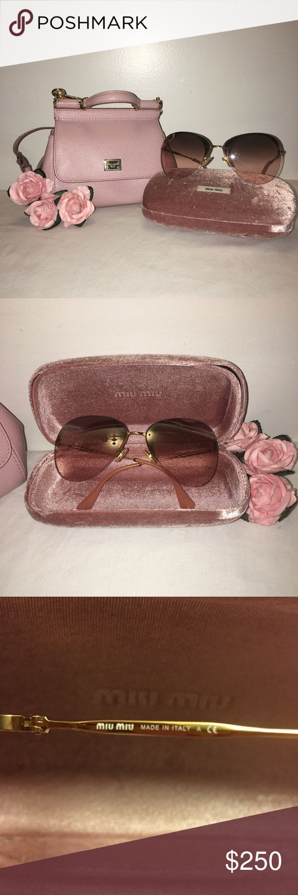 Pink MIU MIU sunglasses 🌸 One of the cutest and girly sunglasses I've owned!!! Authentic and comes in its case but I've lost its little baggie and cloth :( pink and gold glasses, and pink tinted lens. Cat eye look. SO CUTE! Really need the money but I'd rather keep it then giving it away for cheap so no offers on this one; price firm sorry. Will contain a gift (closet cleanout!) 🌸 Miu Miu Accessories Sunglasses