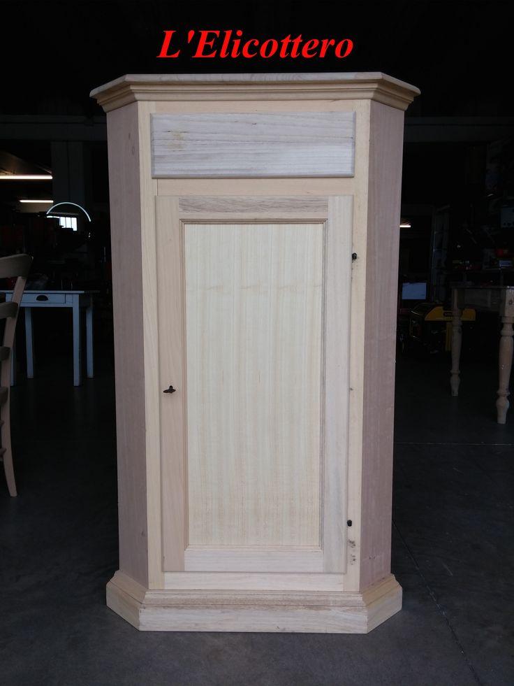 Angolare in legno grezzo con 1 cassetto e 1 anta