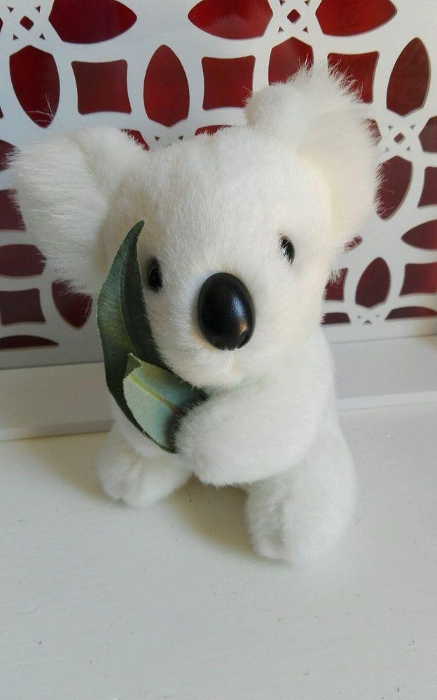 Peluche Doudou Koalo blanc tenant des feuilles Aussie Bush Toys Australia TBE