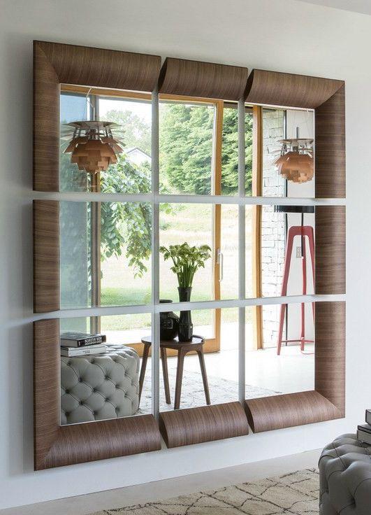 Wall-mounted framed square #mirror TRIPLE by Porada | #design Tarcisio Colzani