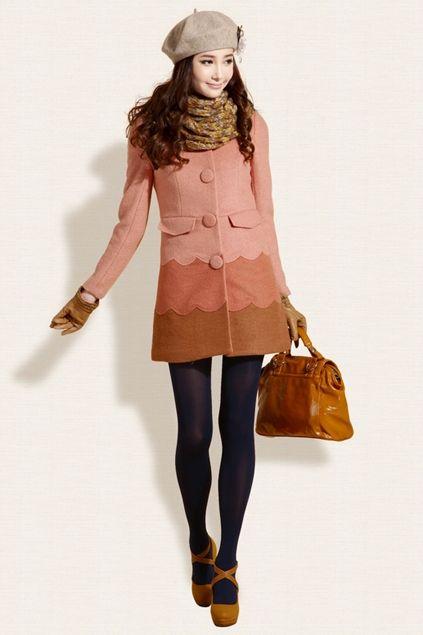 Color Block Slim Tweed Coat