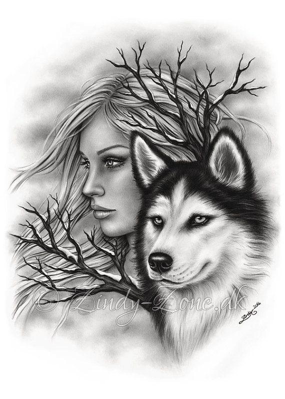 Winter Souls Husky Dog Wolf Spirits Art Print Emo Fantasy Girl Zindy Nielsen