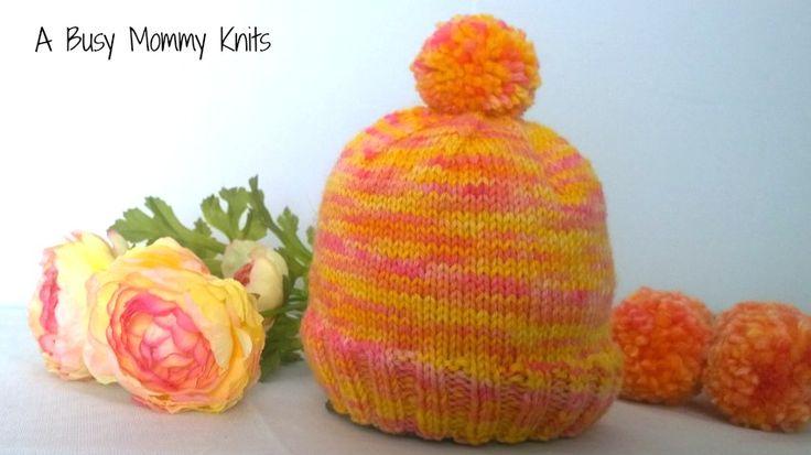 The Pink Lemonade Baby Hat Free Knitting Pattern.