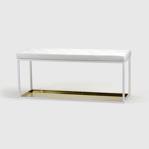 BÄNK 11  W 90 x H 45 x D 40 cm  White / Black, Zinc / Brass, Leather