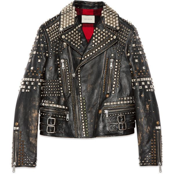 Gucci Studded Leather Biker Jacket (331,825 MXN) ❤ liked on Polyvore featuring men's fashion, men's clothing, men's outerwear, men's jackets, coats, jackets, black, mens leather moto jacket, gucci mens jacket and mens leather jackets