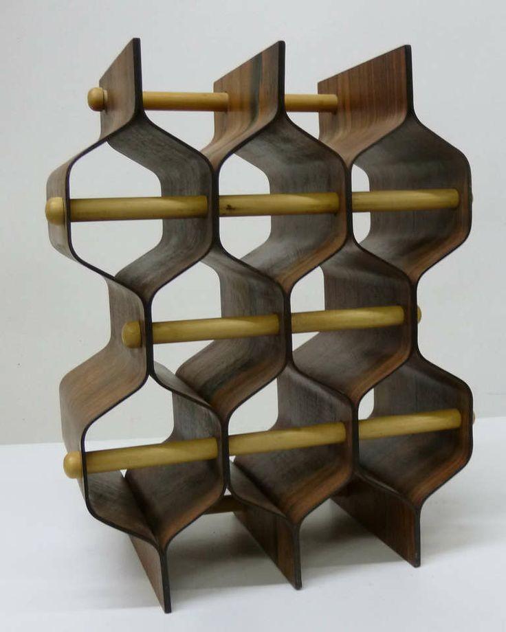 Mid-Century Modern Scandinavian Wine Rack in Rosewood Plywood image 5