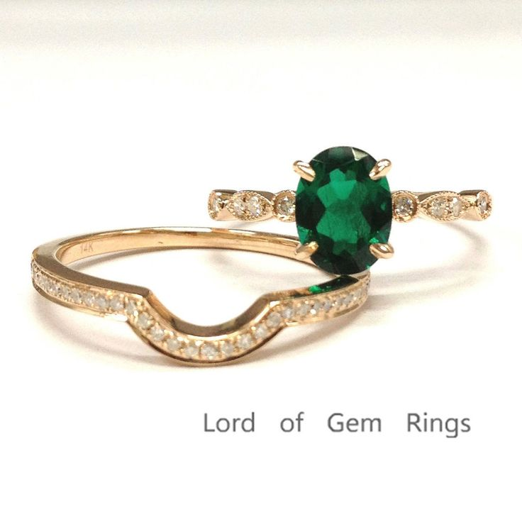 $588 Oval Emerald Engagement Ring Sets Pave Diamond Wedding 14k Rose Gold 6x8mm Curved Band