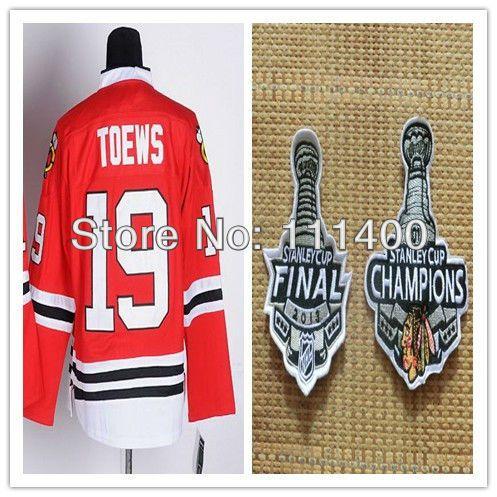 Хоккей кофта # 19 джонатан тоьюс красный кубок стэнли чаша окончательные / чемпионы аутентичные хоккей с шайбой джерси размер : 48 - 56