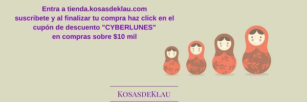 Aprovecha este 31 de octubre y 1 noviembre para un 20% de descuento en compras sobre $10 mil! tienda.kosasdeklau.com