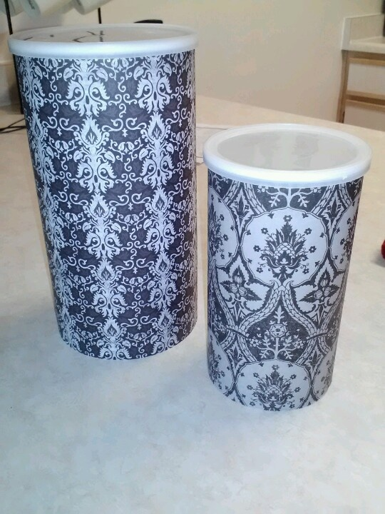 oatmeal can diy just hotglue any scrapbook paper on the can and now i have a cute small dog food. Black Bedroom Furniture Sets. Home Design Ideas