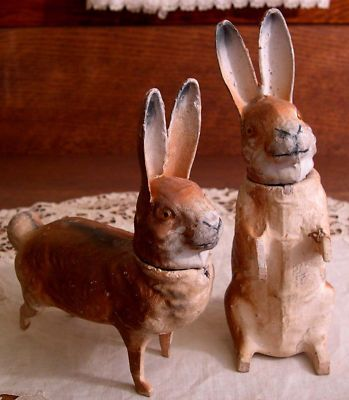 2 Antique Easter Rabbit Candy Containers Germany..love these old candy containers
