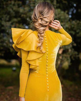 $100 - $300 Burnt Dark Yellow Spring Summer Alternative Prom Bridesmaid Long Sleeved Ruffled One Shoulder Velvet Dress