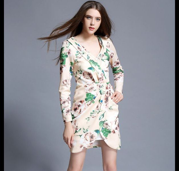 Sexy And Elegant Women Floral Print Long Sleeve V Neck OL Dress    100% Free Shipping (7-20 Business days) Via Standard Shipping with Tracking Number 100% Brand New Item  100% Item As...