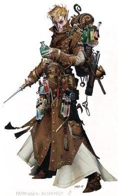 Character Design - Wayne Reynolds illustration of the Pathfinder Alchemist class