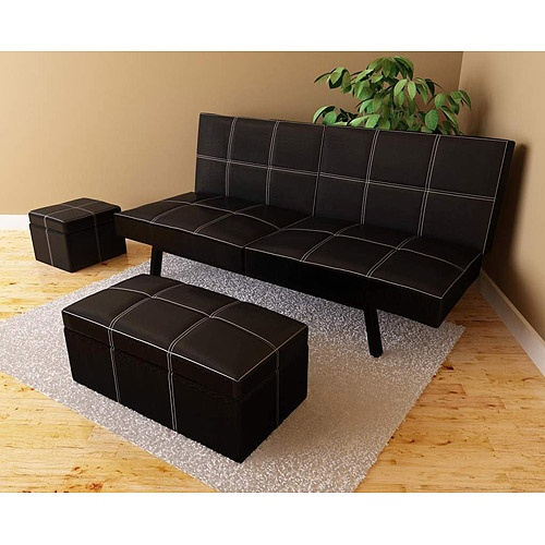 Delaney Futon Sofa Bed 3 Piece Living Room Set, Black