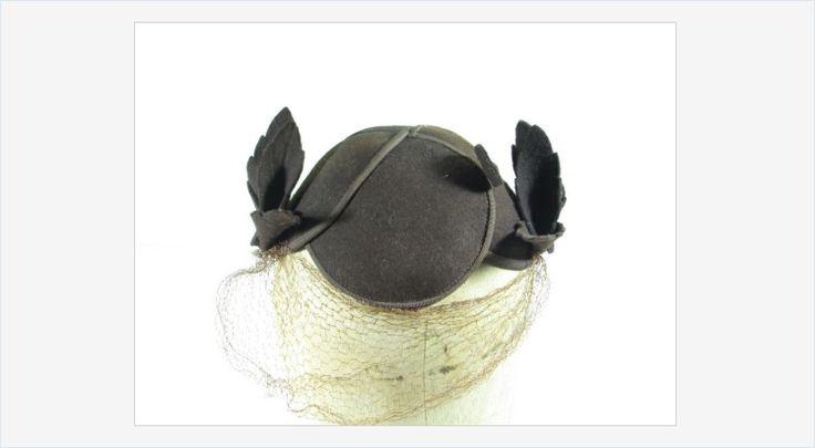 #Vintage Brown Felt #Novelty #Hat Topper Leaves Hat Pin Mesh Netting #gotvintage #fashion
