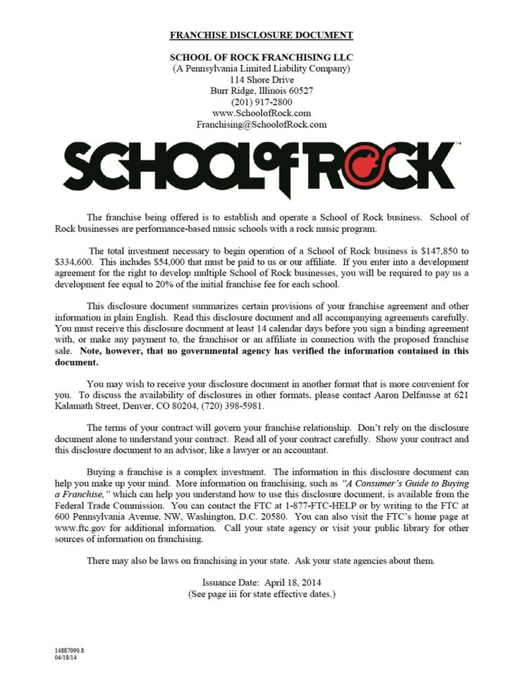 Obtain The FDD For School Of Rock For Details On Franchise Costs, Fees,  Franchisee Training And More.