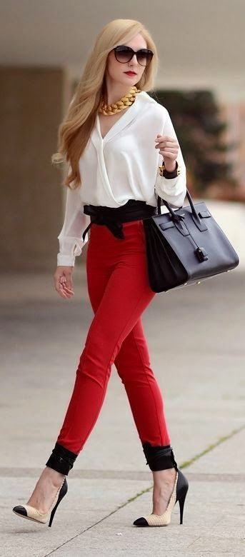Street styles white top red pants