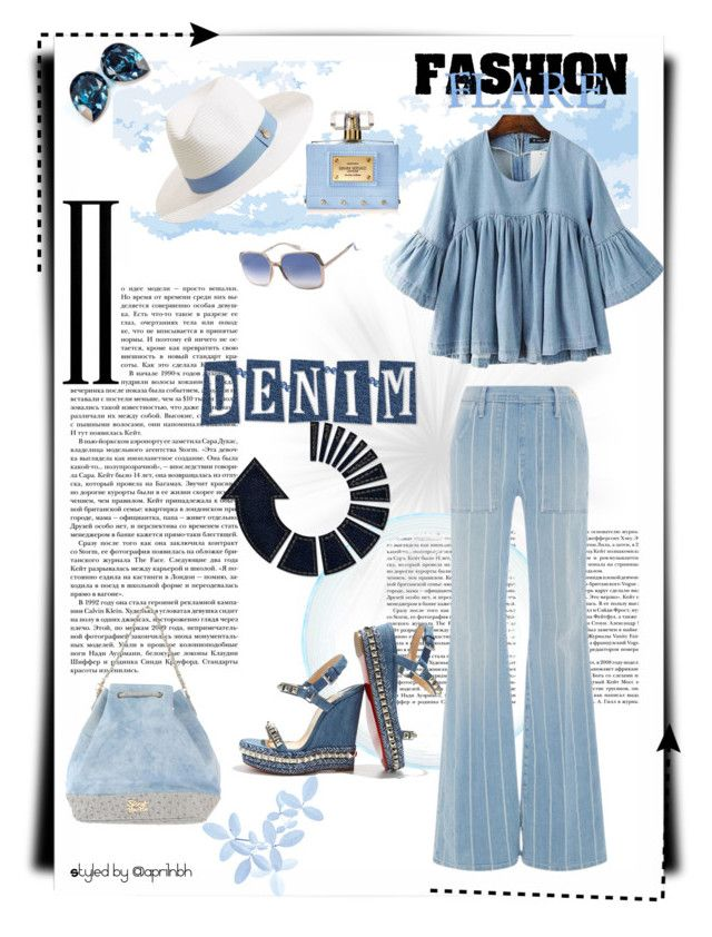 """""""Outfit #61"""" by aprilhayes123 on Polyvore featuring Chicnova Fashion, canvas, Frame Denim, Melissa Odabash, Versace, Secret PonPon, Christian Louboutin and Marc Jacobs"""