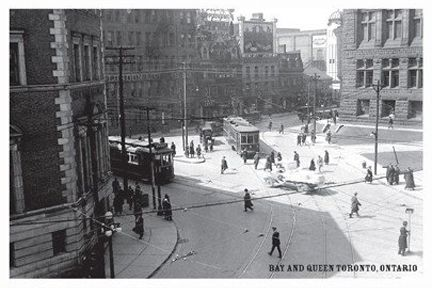 CCT0134 - Looking northwest at Bay Street and Queen Street West April 7, 1923.