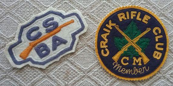 Vintage Sew-On Rifle Club Patches Craik Rifle Club CSBA
