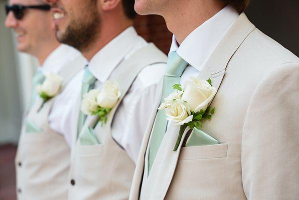 Cream and mint green Walt Disney World groomsmen attire