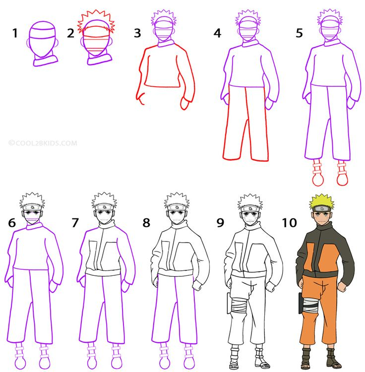 How to Draw Naruto Step by Step Drawing Tutorial with Pictures | Cool2bKids