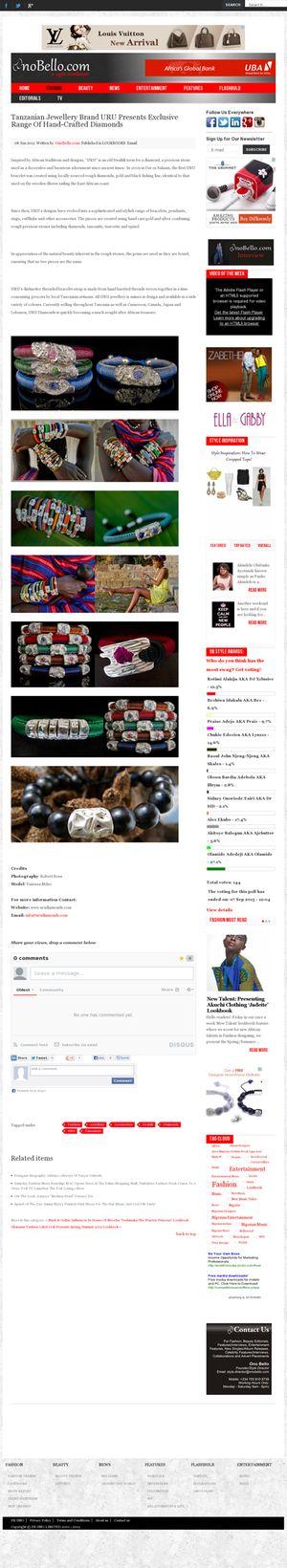 Onobella.com article about URU Bracelets