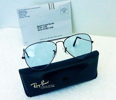 Vintage Ray Ban Sunglasses by Bausch & Lomb Changeables Blue Aviator 58mm Black