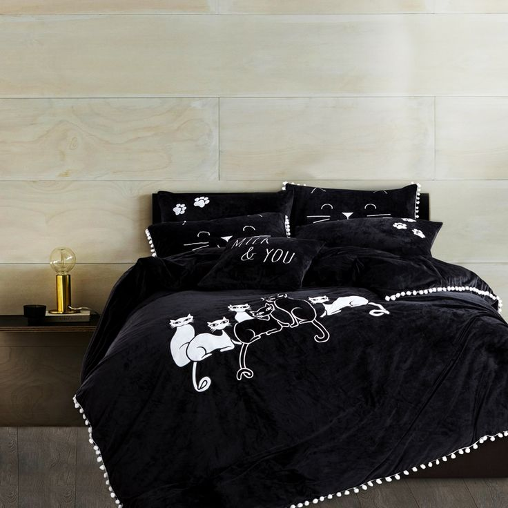 Cheap duvet cover set, Buy Quality bed set directly from China bedding set Suppliers: Thick Fleece Black and White Cat Girls Bedding Set King Queen Size  Winter Bed Set Solid Color Duvet Cover set 4/6Pcs  Bedsheet