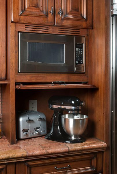 Cabinet Perforated To Allow Microwave To Breath. Small Appliances Hidden  With Swing Door Part 70