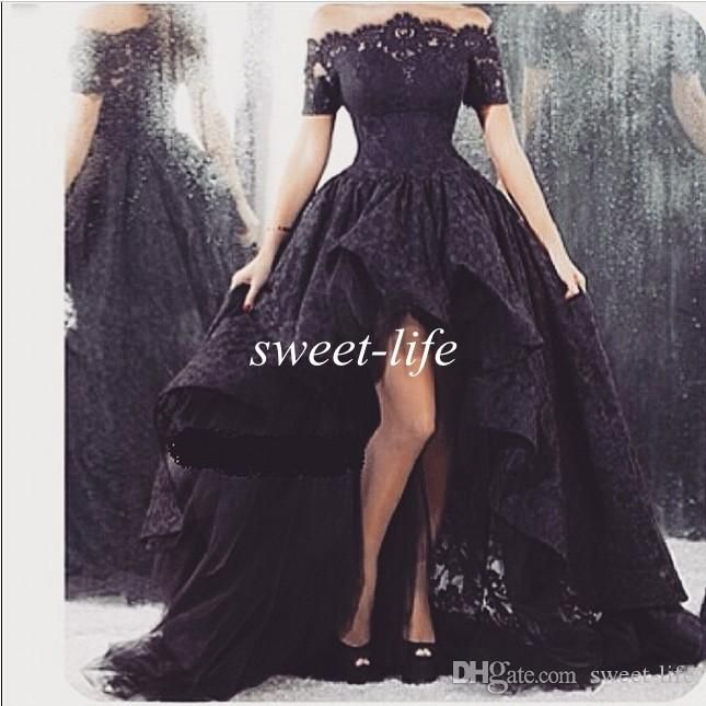 2015 Arabic Black Lace Prom Dresses High Low Off Shoulder with Short Sleeve Ruffle Sheer Neck Tulle Vintage Party Gowns Formal Evening Dress Online with $120.26/Piece on Sweet-life's Store | DHgate.com