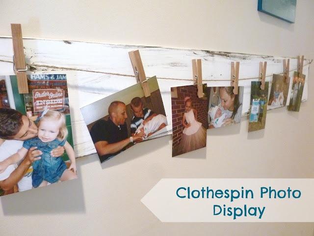 Feathers & Sunshine: Clothespin Photo display