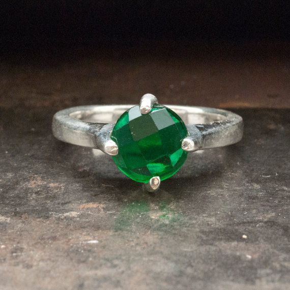 Green Onyx Ring Sterling Silver Green Gemstone by SunSanJewelry