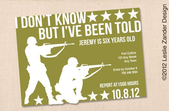 Clean and modern military-themed party invitation