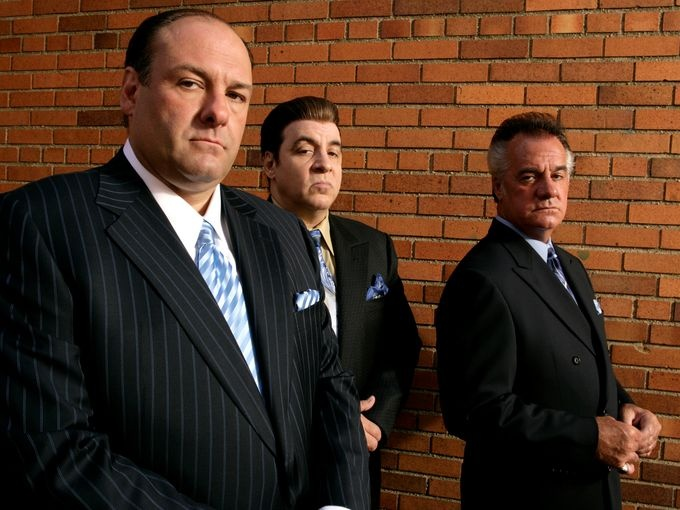 James Gandolfini, left, with Steven Van Zandt (Silvio Dante) and Tony Sirico (Paulie 'Walnuts' Gualtieri), who played his henchmen through the series' six seasons.