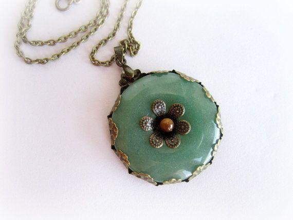 Green aventurine pendant necklace stone donut by MalinaCapricciosa