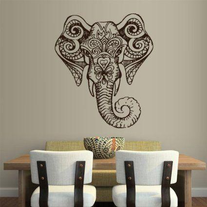 Amazon.com - Wall Vinyl Sticker Decals Decor Art Bedroom Design Mural Ganesh Om Elephant Tatoo Head Mandala Tribal (Z1960)