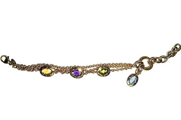 """Woman´s chain bracelet, yellow gold  """"Topaz"""", titled 750/1000  18 Kt, with blue, citrine, amethyst, green and purple Topaz; snap closure."""
