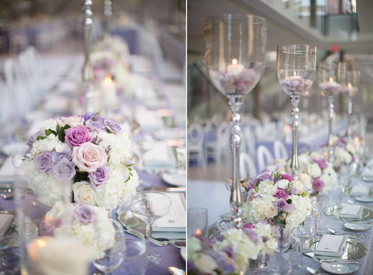 Royal Conservatory of Music wedding reception decor with lavender and pink accents