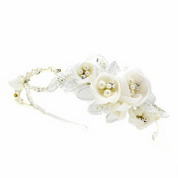 Headband mariage organdi Lacets de fleurs