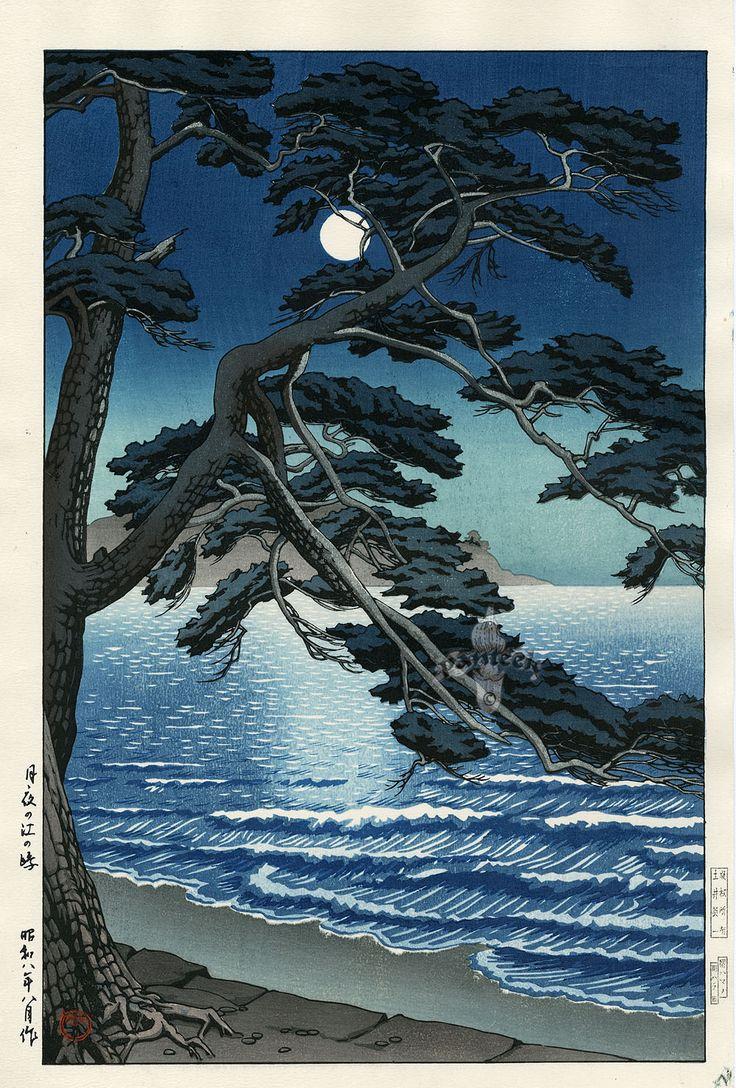Hasui Moonlit Woodblock Prints